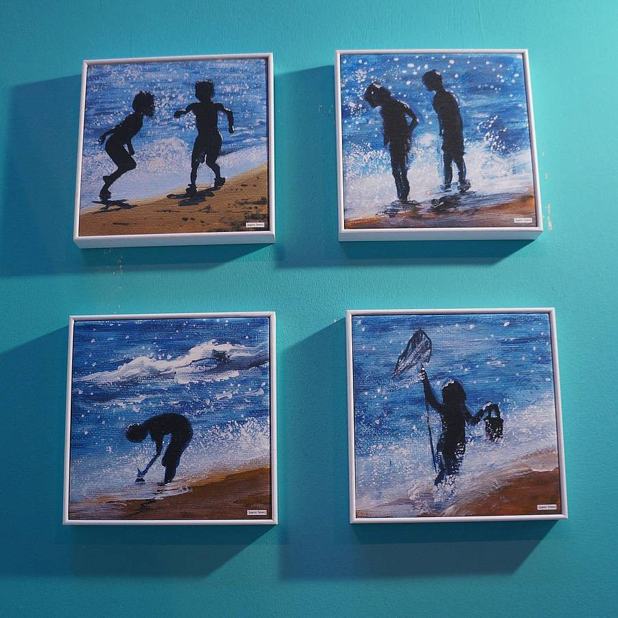 Print - Set Of Four Kids Beside The Seaside  Smart Deco Homeware Lighting and Art by Jacqueline hammond