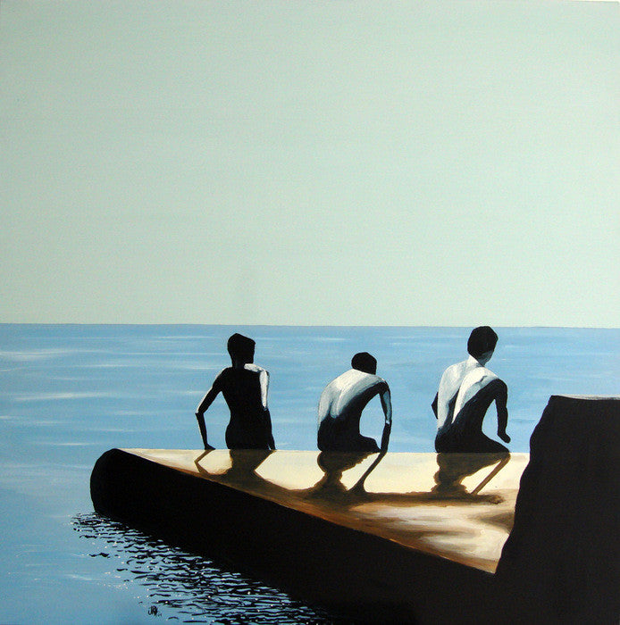 Painting - Back Off - The Groyne Series 100x100cm (SOLD)  Smart Deco Homeware Lighting and Art by Jacqueline hammond