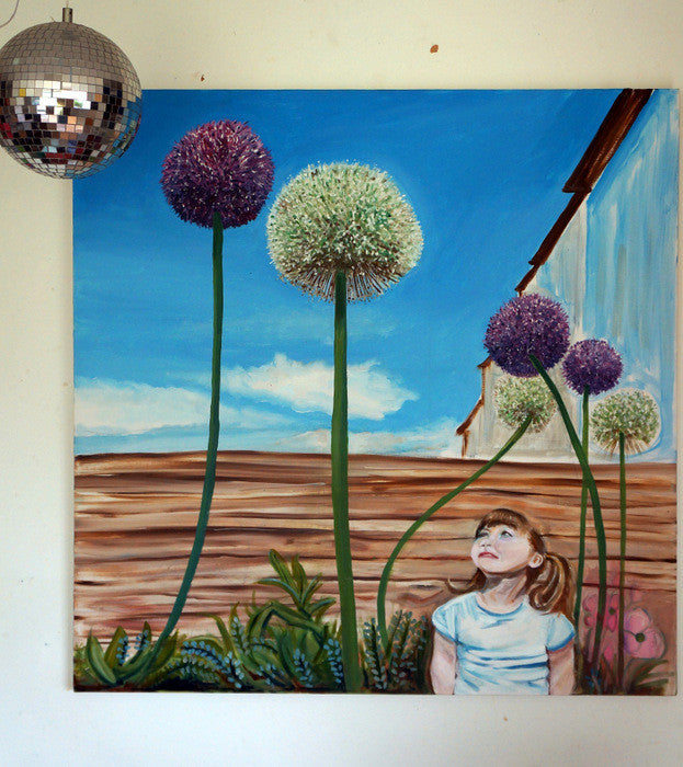 Floating Alliums painting  Smart Deco Homeware Lighting and Art by Jacqueline hammond