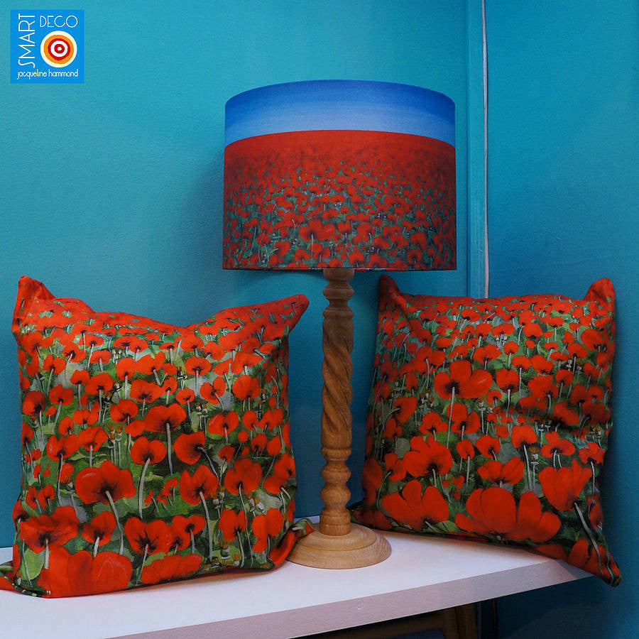 Lampshade - Poppy Blue Sky Art Print  Smart Deco Homeware Lighting and Art by Jacqueline hammond