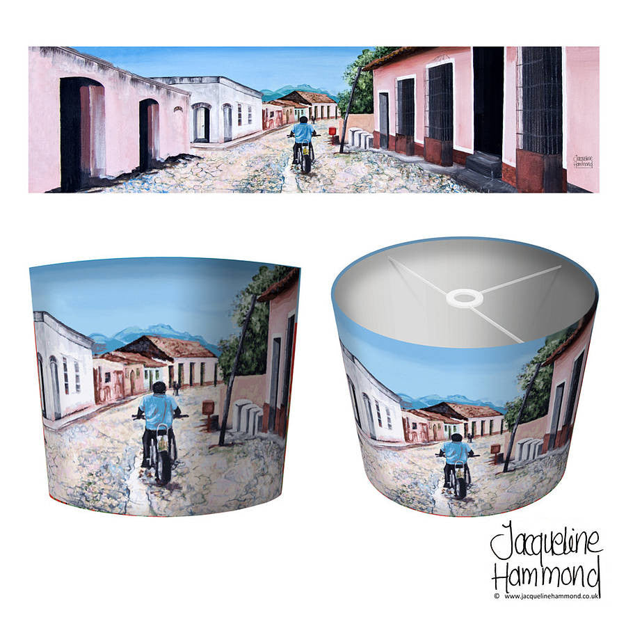Lamp Shade - Cuban Motorbike  Smart Deco Homeware Lighting and Art by Jacqueline hammond