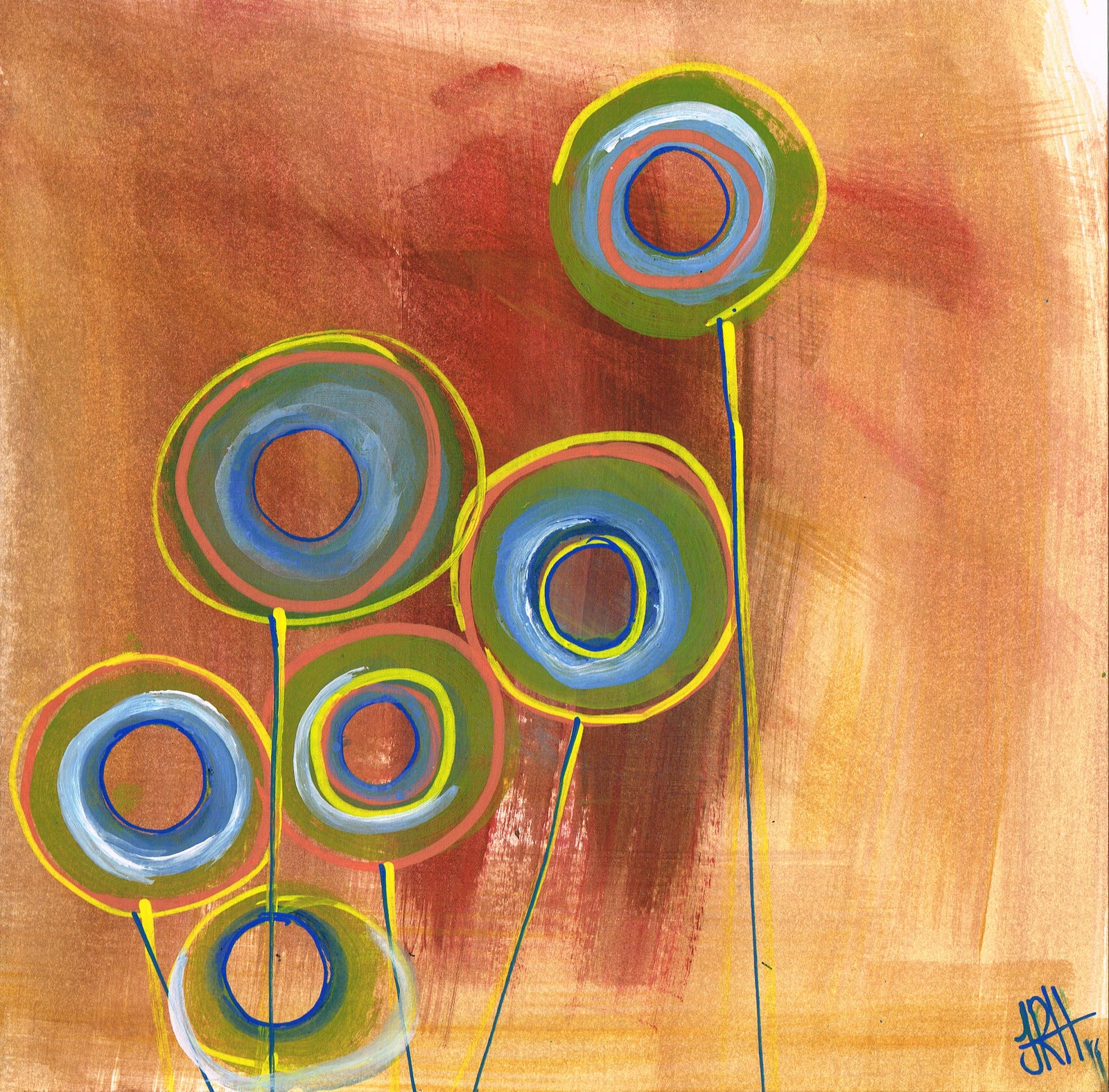Original Painting - Zeros and Ones - Hoops  Smart Deco Homeware Lighting and Art by Jacqueline hammond