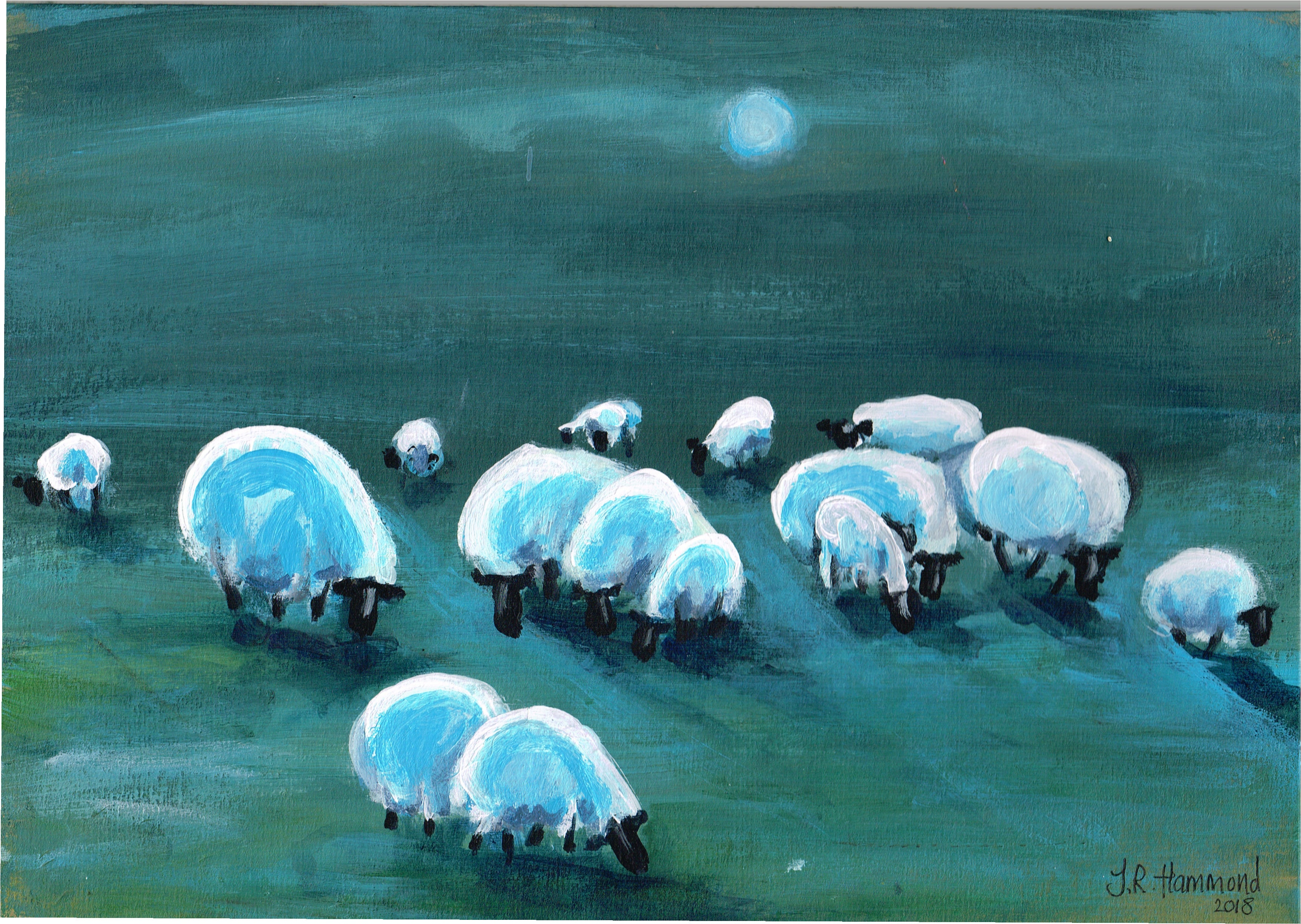 At Night I Dream of Acrylic Sheep Painting - Three (sold)  Smart Deco Homeware Lighting and Art by Jacqueline hammond