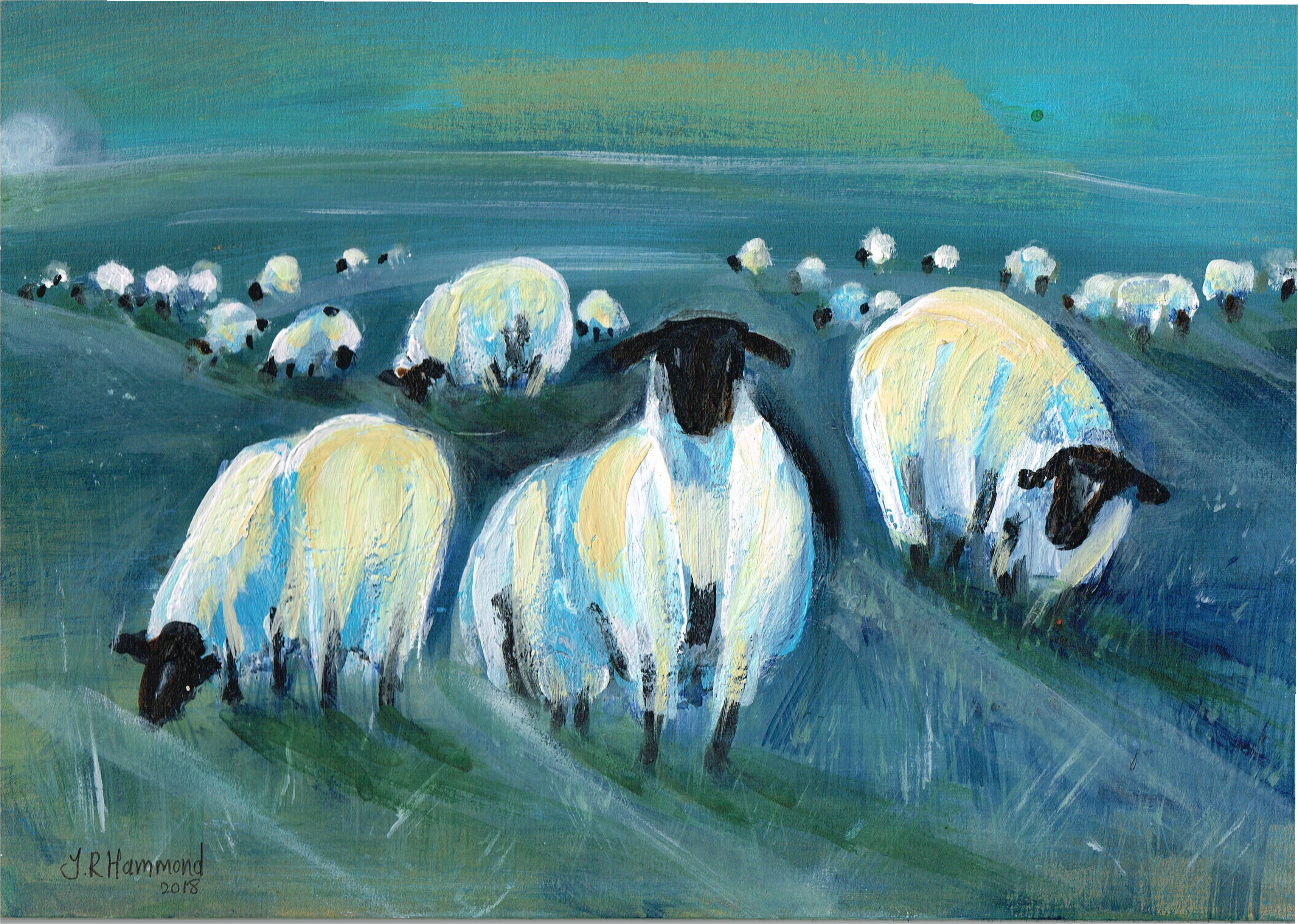 At Night I Dream of Acrylic Sheep Painting - Four (sold)  Smart Deco Homeware Lighting and Art by Jacqueline hammond