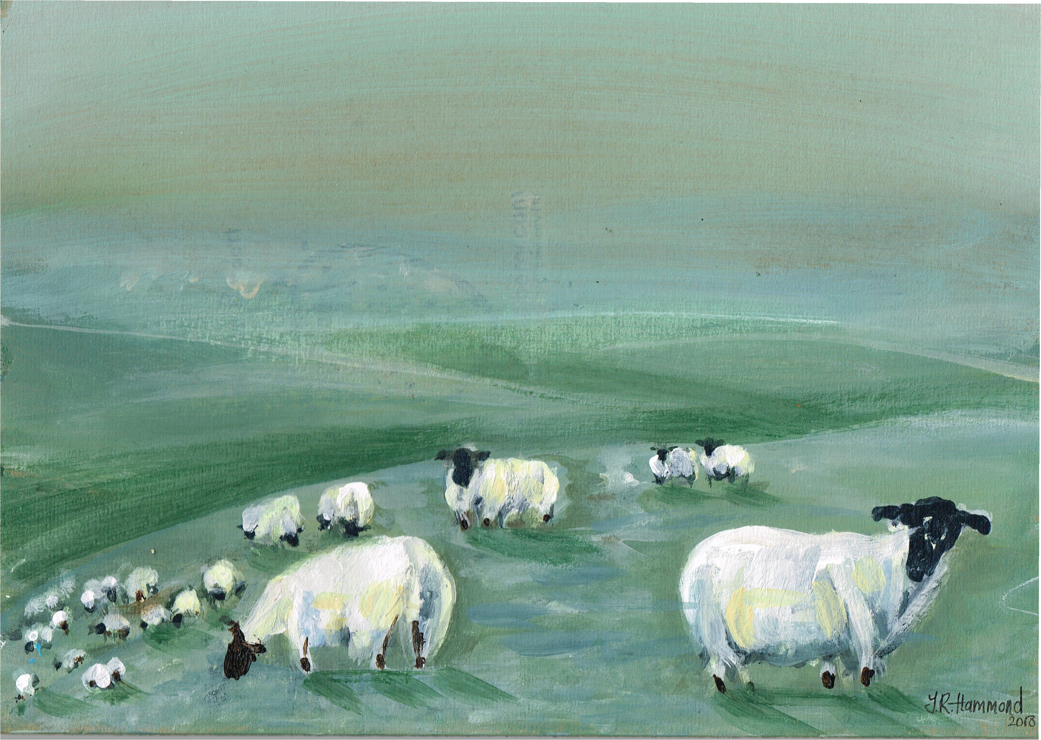 At Night I Dream of Acrylic Sheep Painting - Six (sold)  Smart Deco Homeware Lighting and Art by Jacqueline hammond