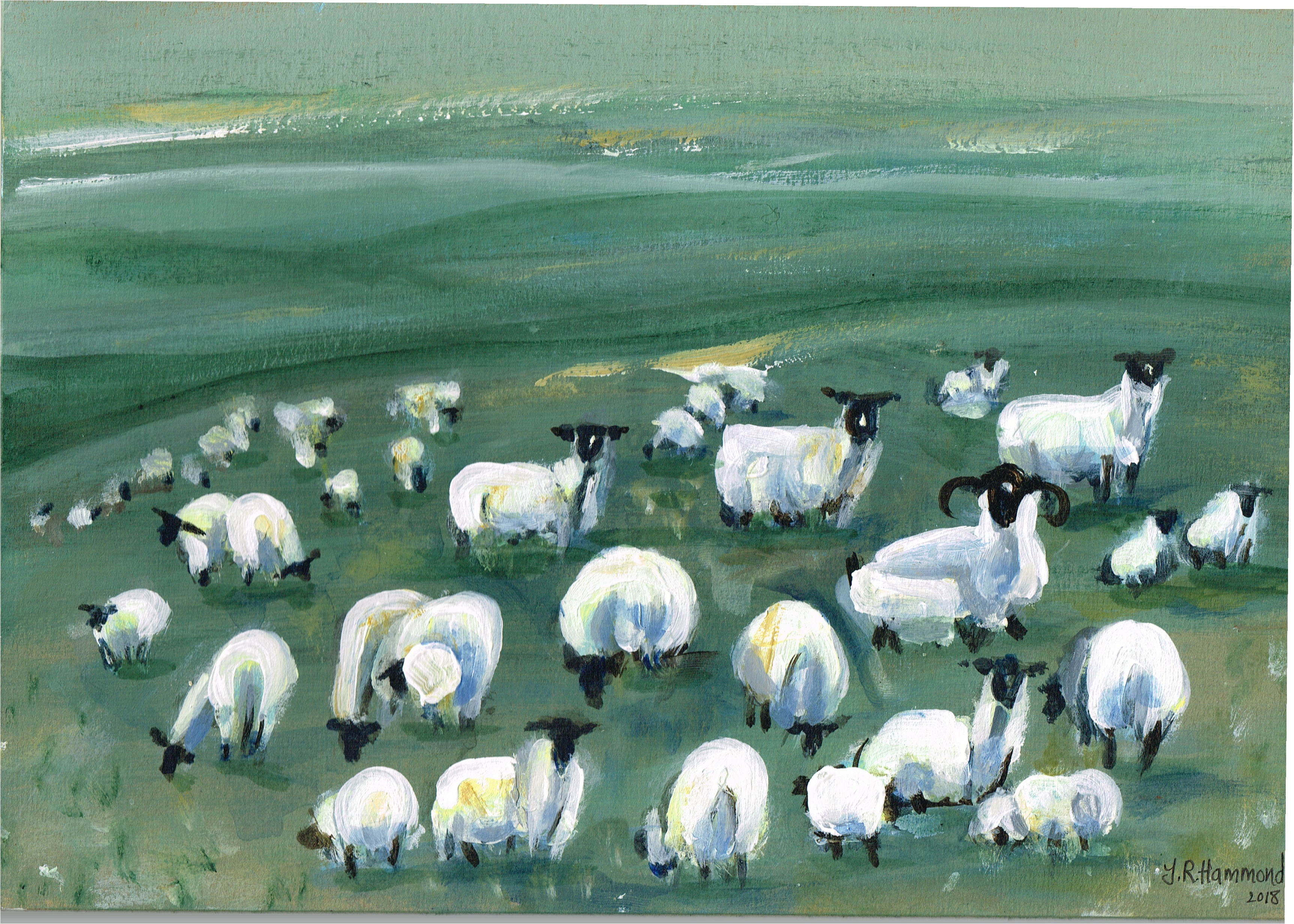 At Night I Dream of Acrylic Sheep Painting - Nine  Smart Deco Homeware Lighting and Art by Jacqueline hammond