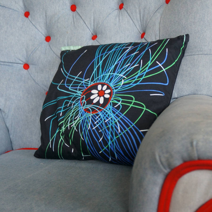 Luxury Cushion Cover - Ultraviolet Jellyfish Art Print  Smart Deco Homeware Lighting and Art by Jacqueline hammond