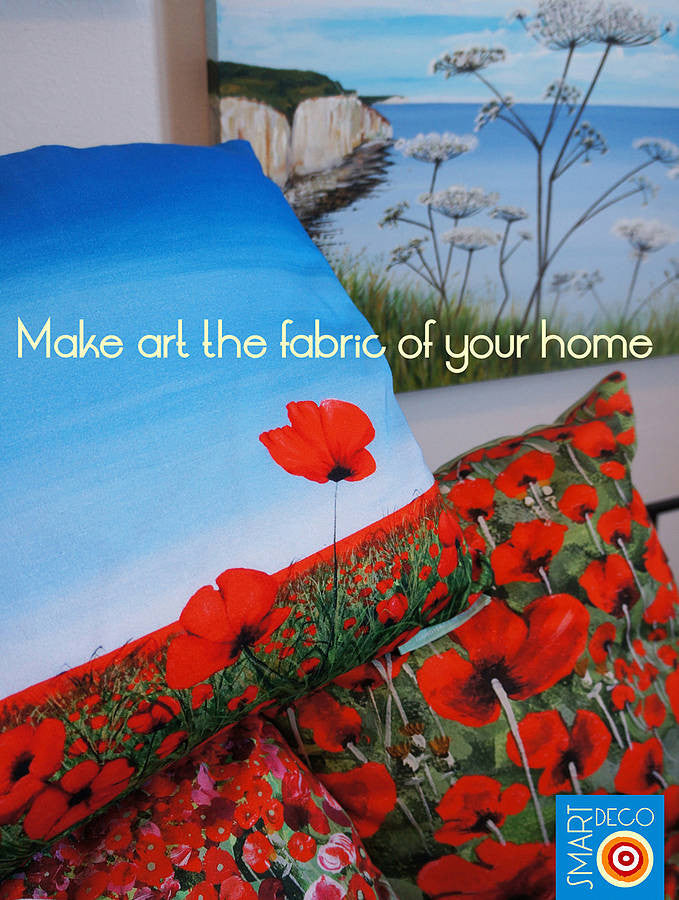 Luxury Cushion Cover - Blowing Poppies Red  Smart Deco Homeware Lighting and Art by Jacqueline hammond