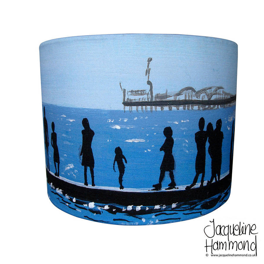The Groyne Series - Lampshade - Seaside Print Drum  Smart Deco Homeware Lighting and Art by Jacqueline hammond