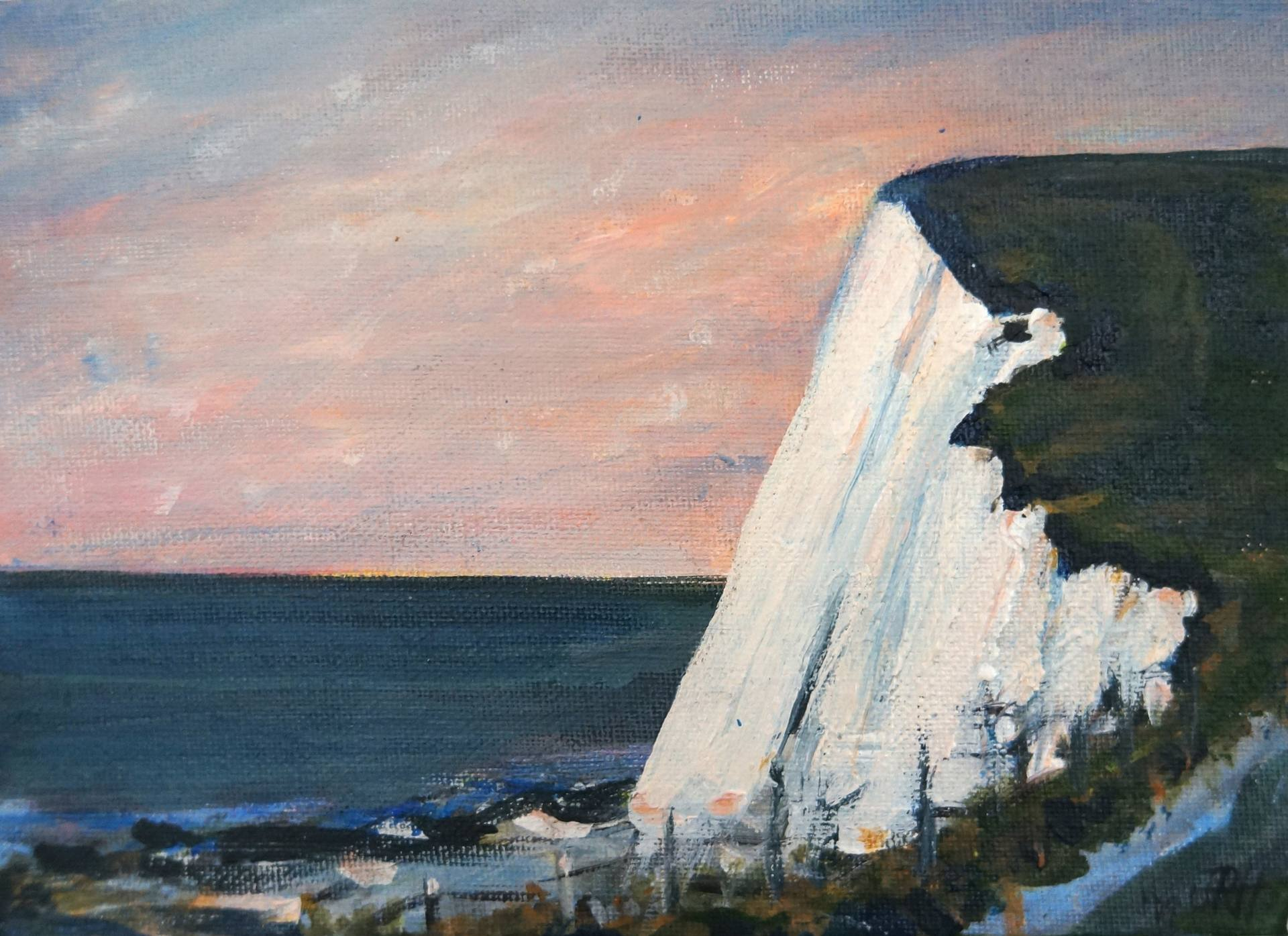 Original Painting - Whitecliffs Dusk Light at Sunset  Smart Deco Homeware Lighting and Art by Jacqueline hammond