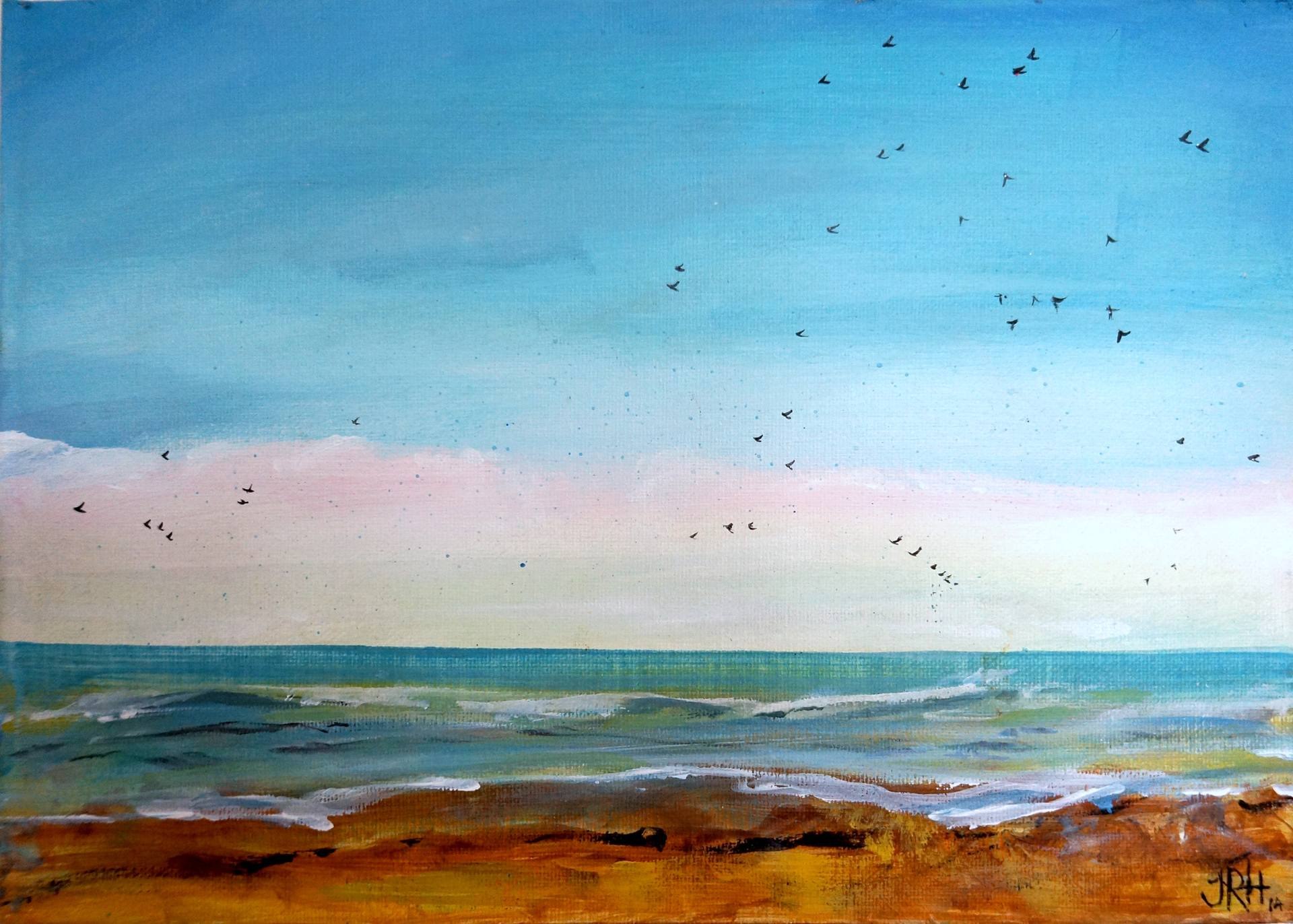 Original Painting - Sweet Beach Starlings Seascape  Smart Deco Homeware Lighting and Art by Jacqueline hammond