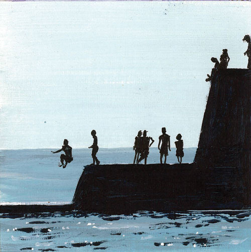 The Groyne Series Painting (mini) - Take a Jump (SOLD)  Smart Deco Homeware Lighting and Art by Jacqueline hammond