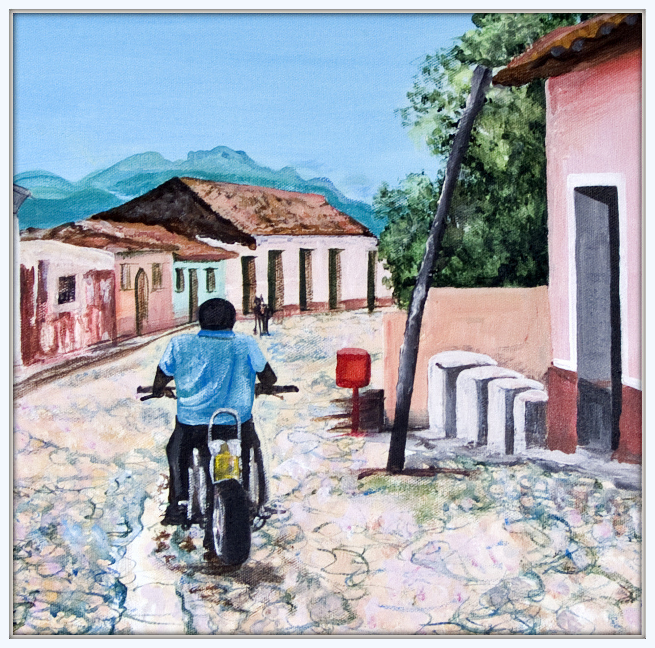 Man on Motorbike in Trinidad, Cuba  Smart Deco Homeware Lighting and Art by Jacqueline hammond