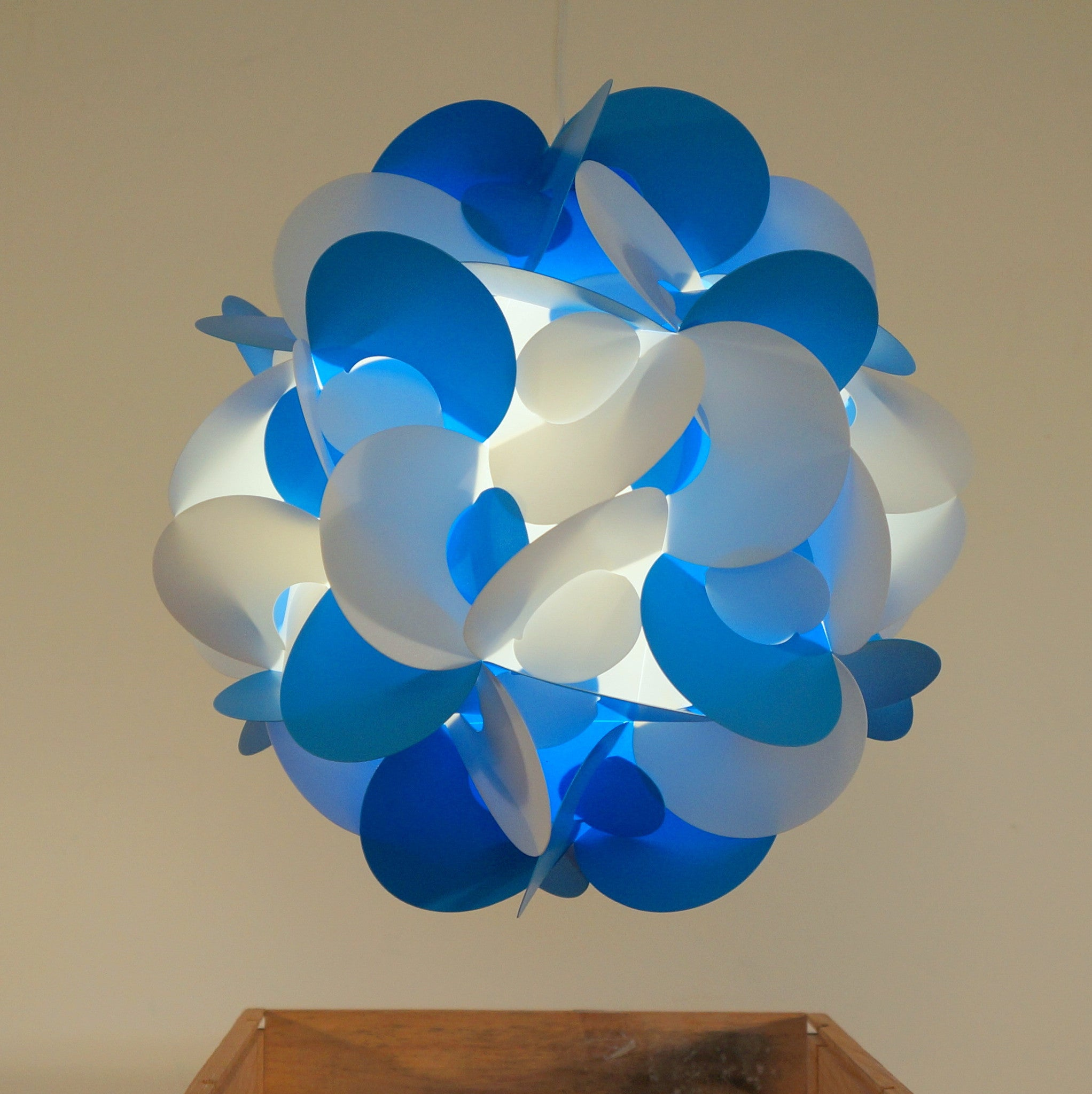 Curve Light Shade In Blue And White  Smart Deco Homeware Lighting and Art by Jacqueline hammond