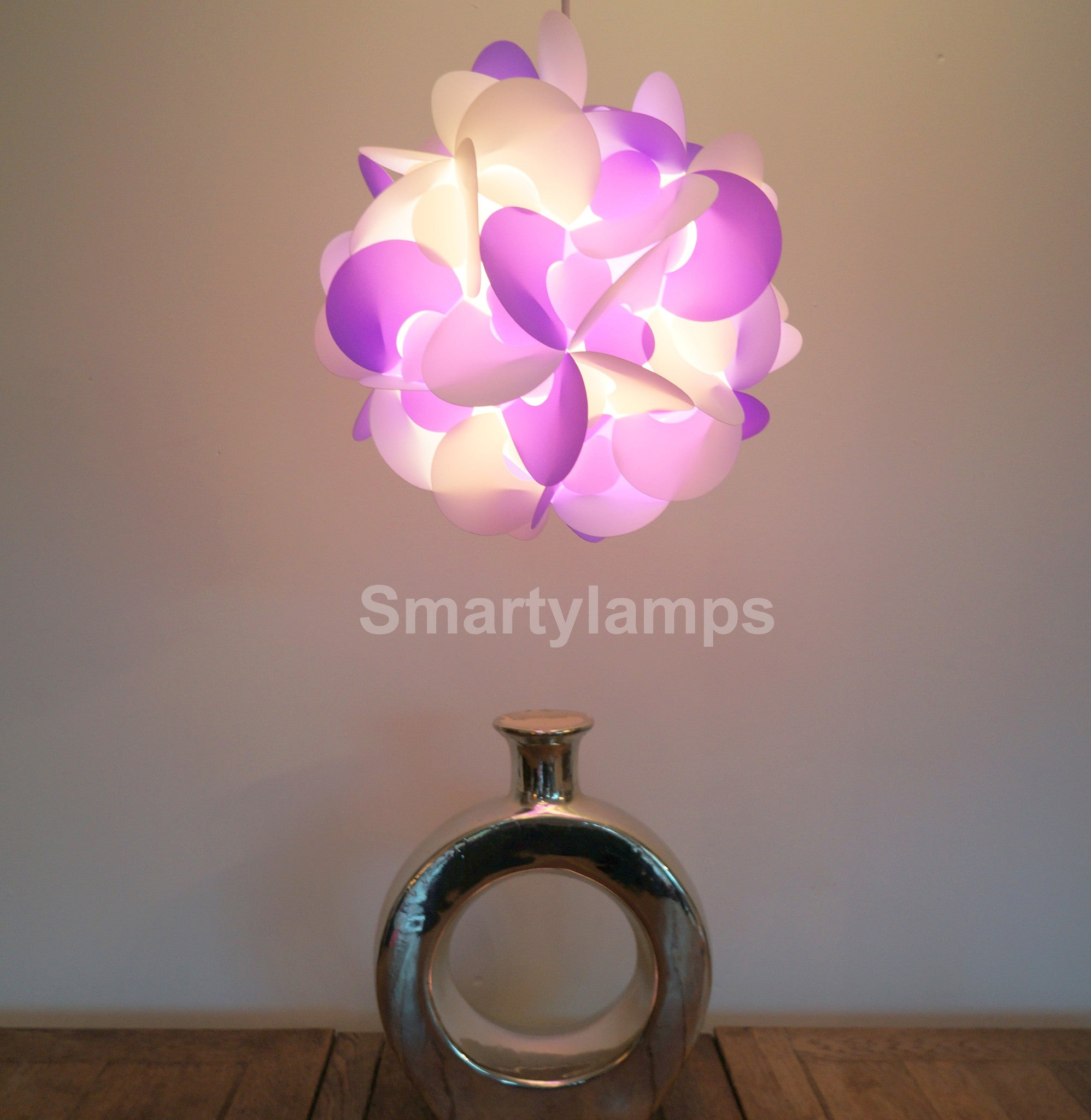 Curve Light Shade In Purple And White  Smart Deco Homeware Lighting and Art by Jacqueline hammond
