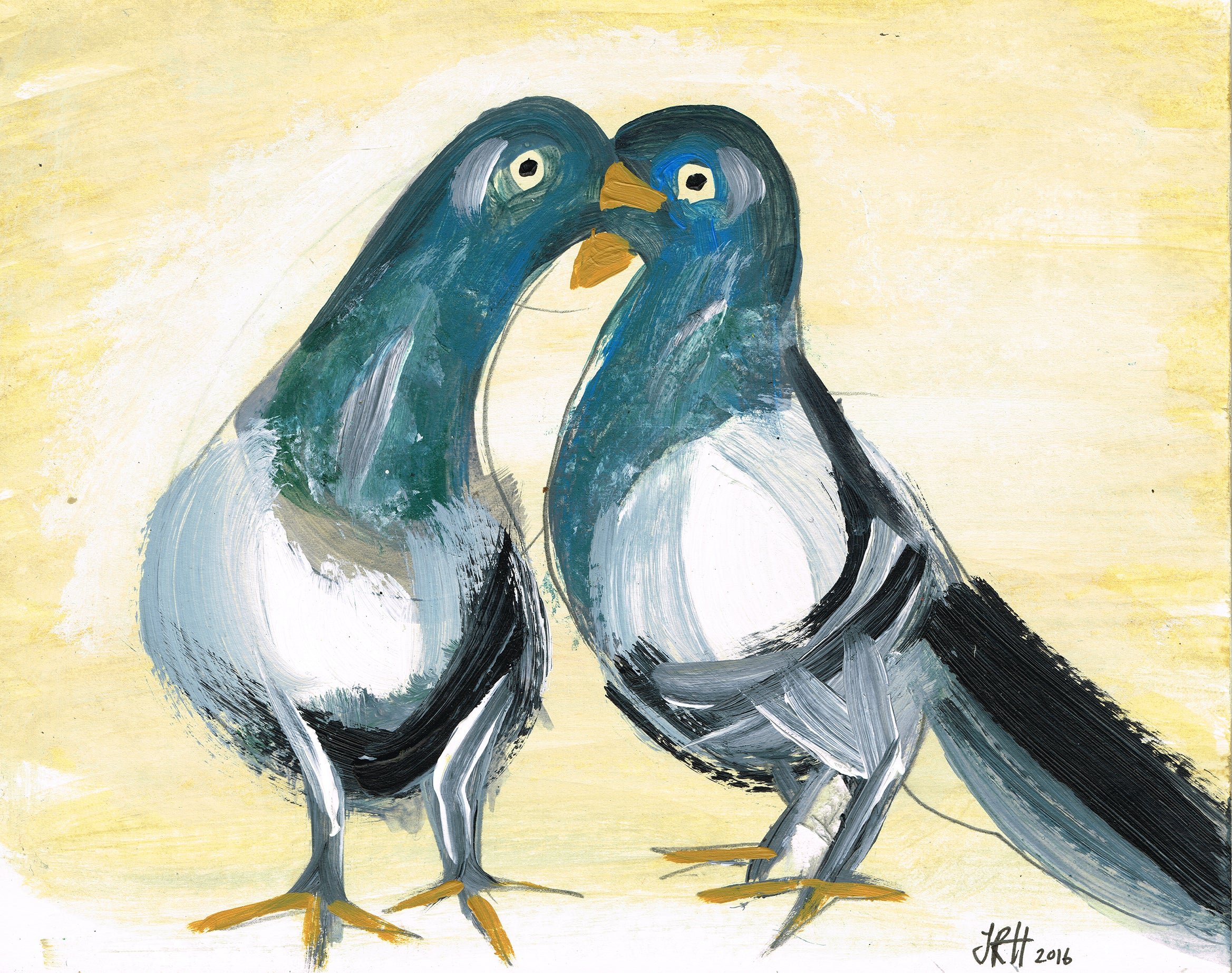 Love Pigeons Painting  Smart Deco Homeware Lighting and Art by Jacqueline hammond