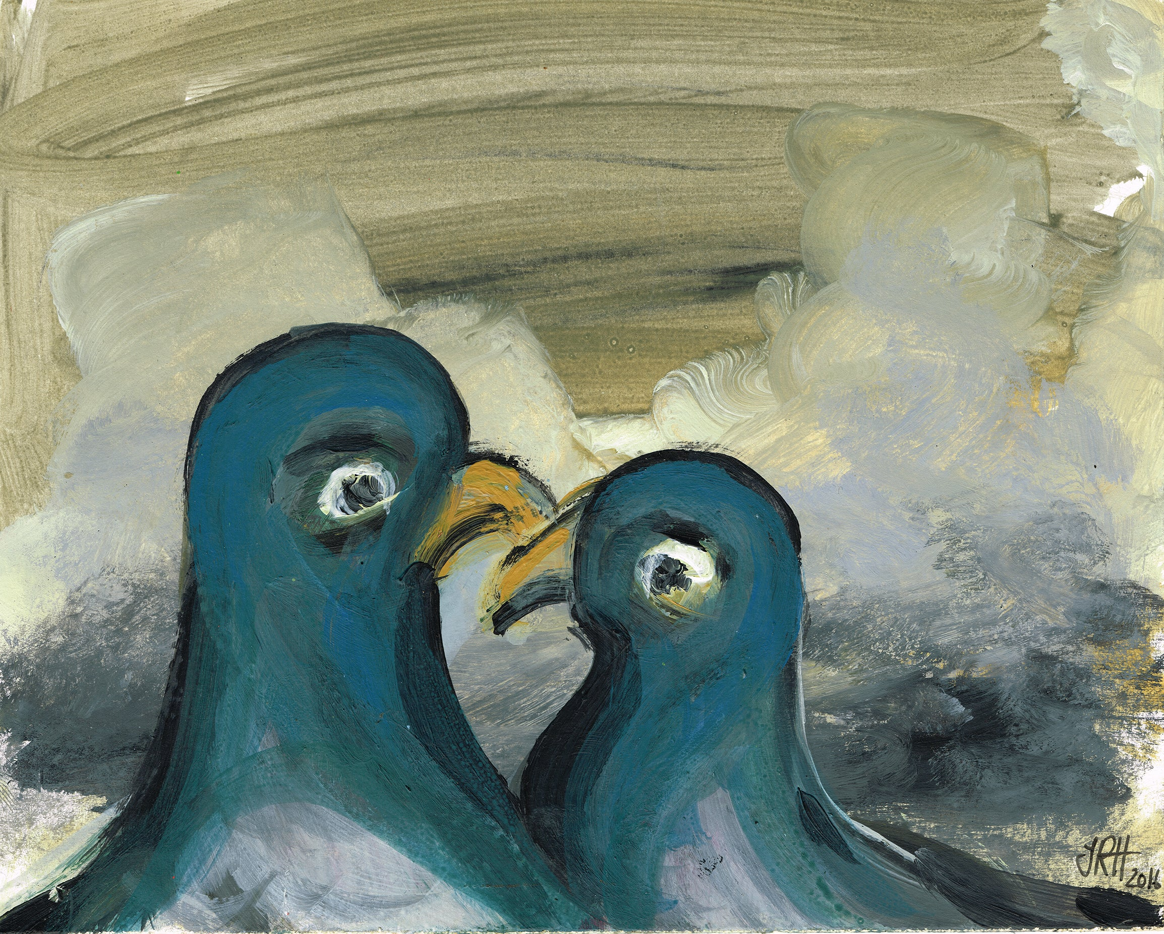 Love Pigeons Painting - Pecking Order  Smart Deco Homeware Lighting and Art by Jacqueline hammond