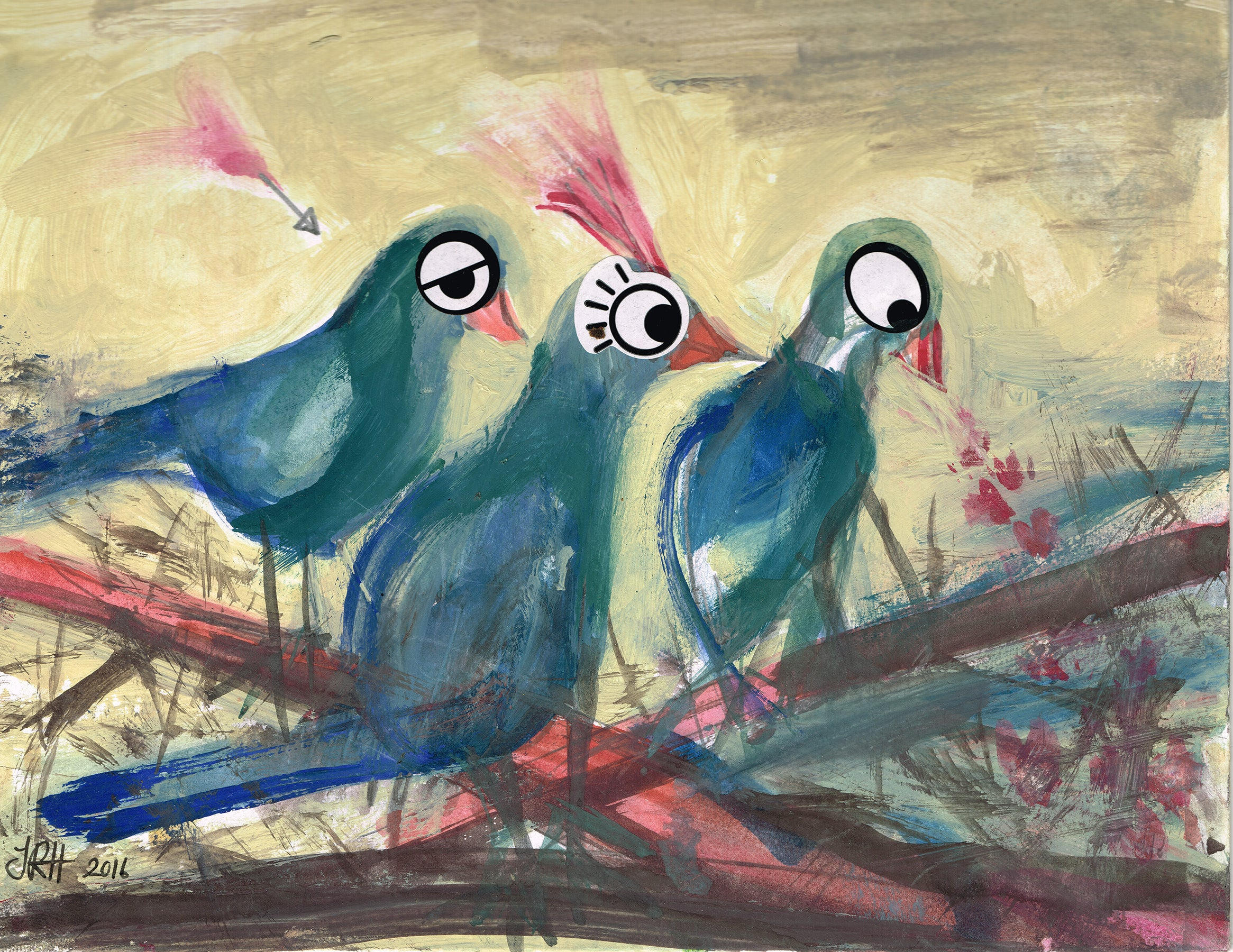 Love Pigeons Painting- Sitting on the Fence  Smart Deco Homeware Lighting and Art by Jacqueline hammond