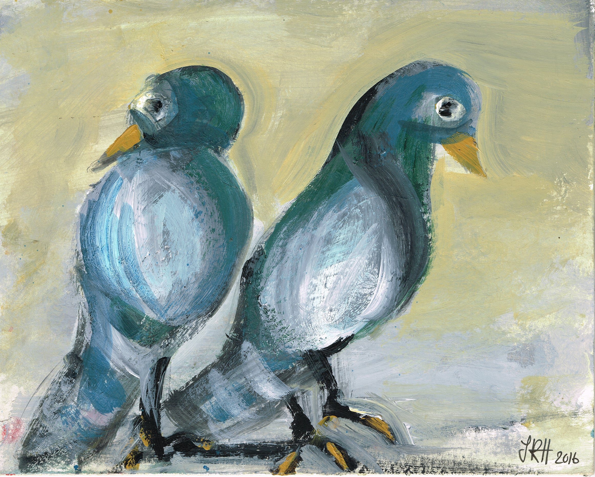 Love Pigeons Painting- Sulking  Smart Deco Homeware Lighting and Art by Jacqueline hammond