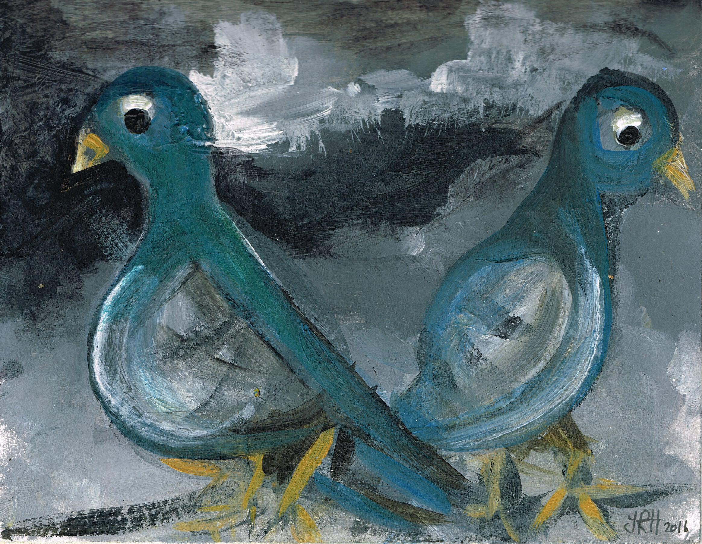 Love Pigeons Painting - Lovers Tiff  Smart Deco Homeware Lighting and Art by Jacqueline hammond