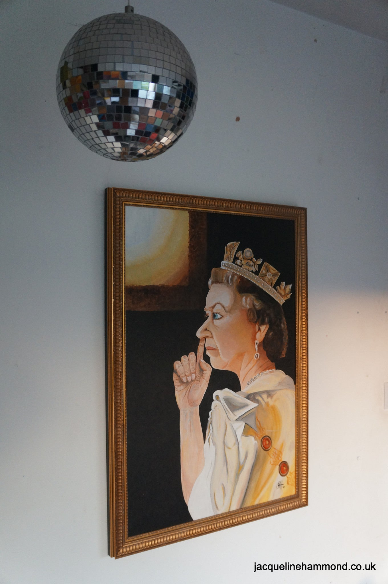The Queen in a Moment of Privacy  Smart Deco Homeware Lighting and Art by Jacqueline hammond