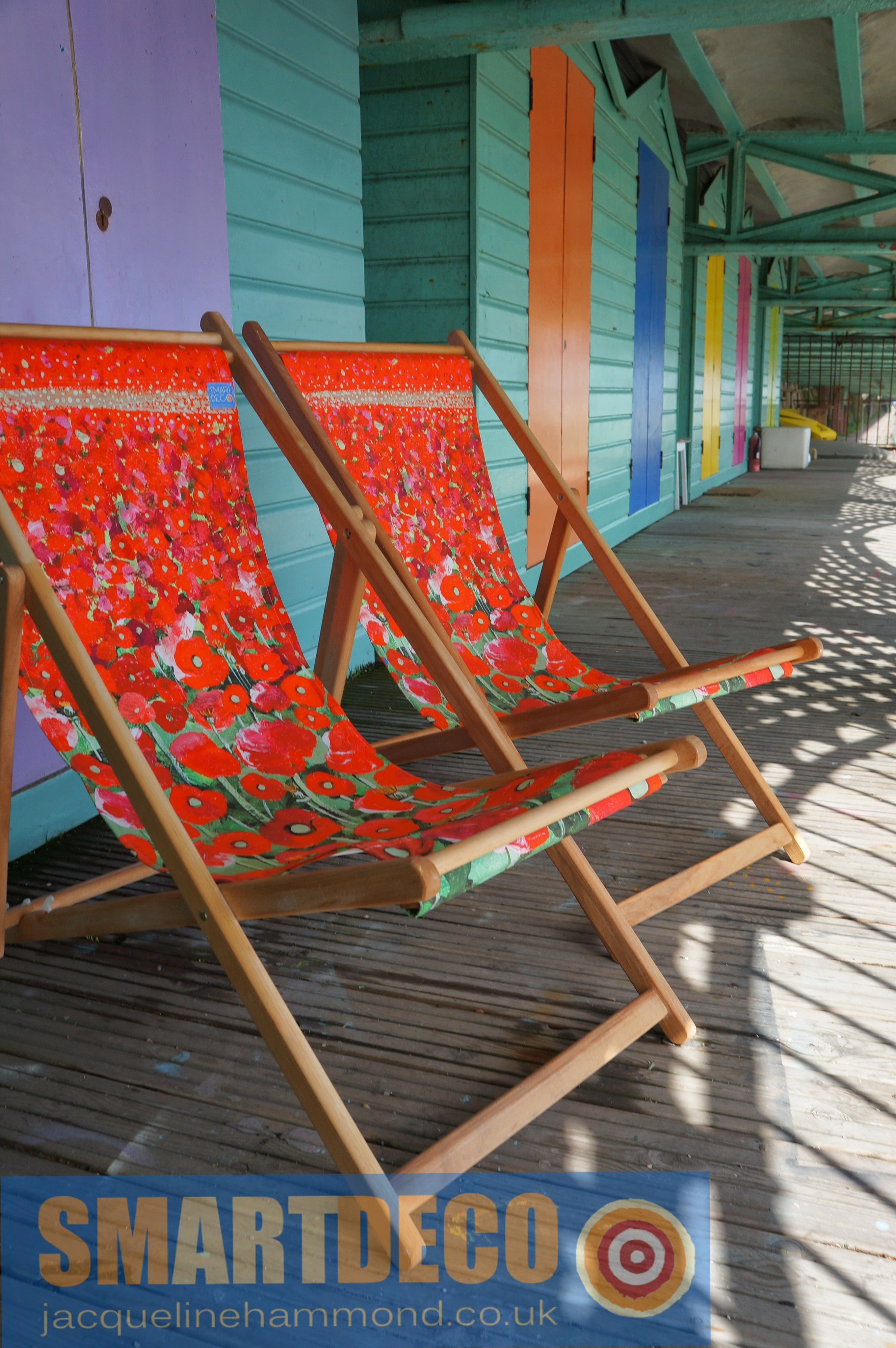 Poppy Art Print deckchair by Jacqueline Hammond