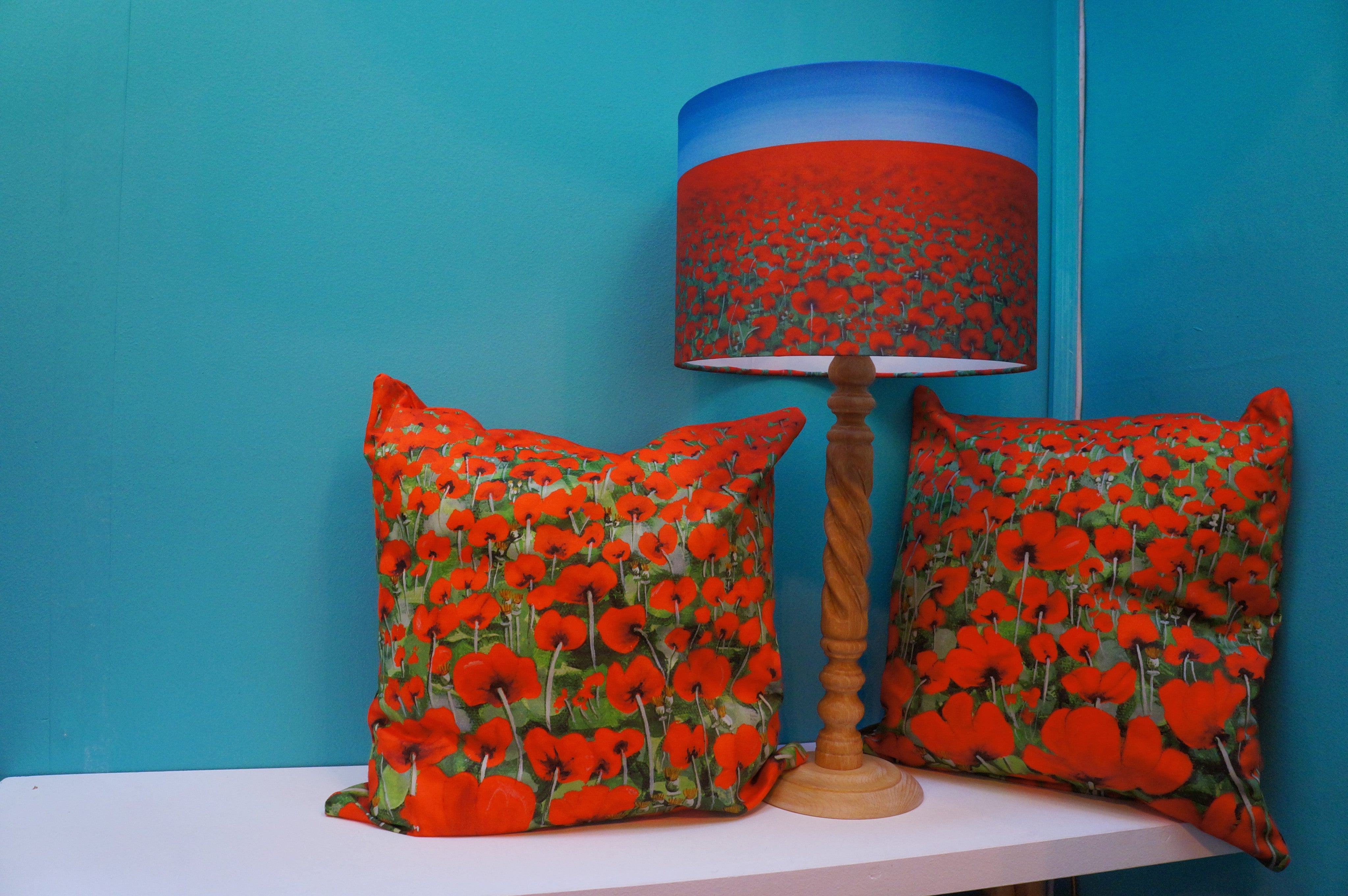 Luxury Cushion Cover - Blowing Poppies Red