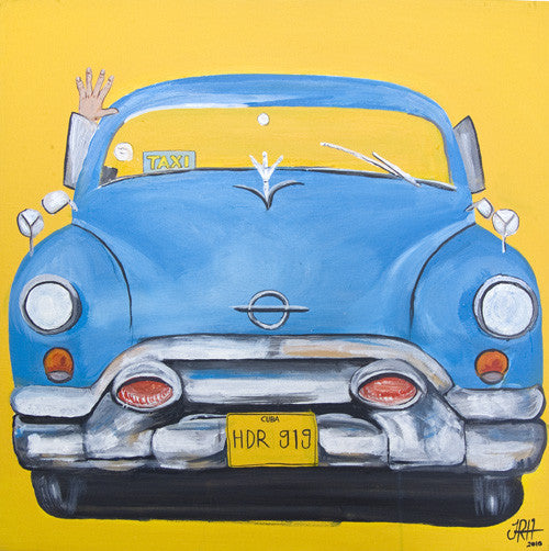 Blue Taxi - Havana, Cuba  Smart Deco Homeware Lighting and Art by Jacqueline hammond