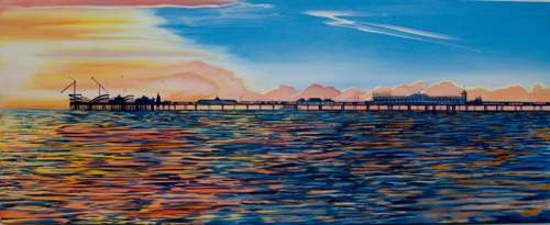 Bright Sunset at Brighton Pier  Smart Deco Homeware Lighting and Art by Jacqueline hammond