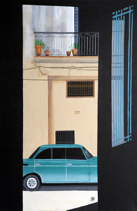 Café View of Green Car (SOLD)  Smart Deco Homeware Lighting and Art by Jacqueline hammond