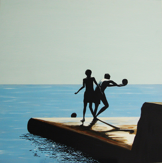 Painting - What a Catch - The Groyne Series 100x100cm (SOLD)  Smart Deco Homeware Lighting and Art by Jacqueline hammond