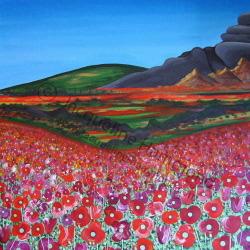 Poppy Series - Field of Dreams painting (SOLD)  Smart Deco Homeware Lighting and Art by Jacqueline hammond