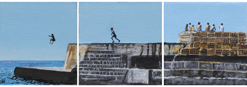 Painting - Original Groyne Triptych  Smart Deco Homeware Lighting and Art by Jacqueline hammond