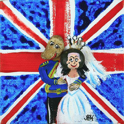 Royal Wedding Portrait  Smart Deco Homeware Lighting and Art by Jacqueline hammond