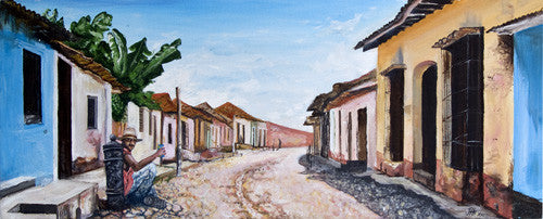 Painting - Our Man Jose in Trinidad, Cuba  Smart Deco Homeware Lighting and Art by Jacqueline hammond