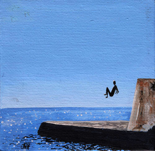 Original Groyne Painting - Baby Square 4 - Jump  (SOLD)  Smart Deco Homeware Lighting and Art by Jacqueline hammond