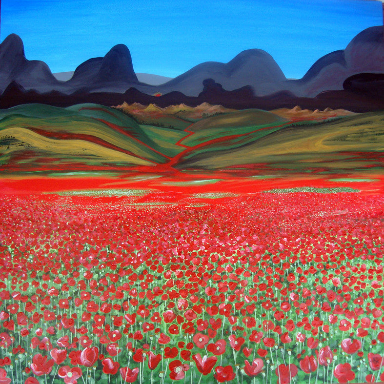 Poppy Series - A Troubled World: Killing Fields (SOLD)  Smart Deco Homeware Lighting and Art by Jacqueline hammond