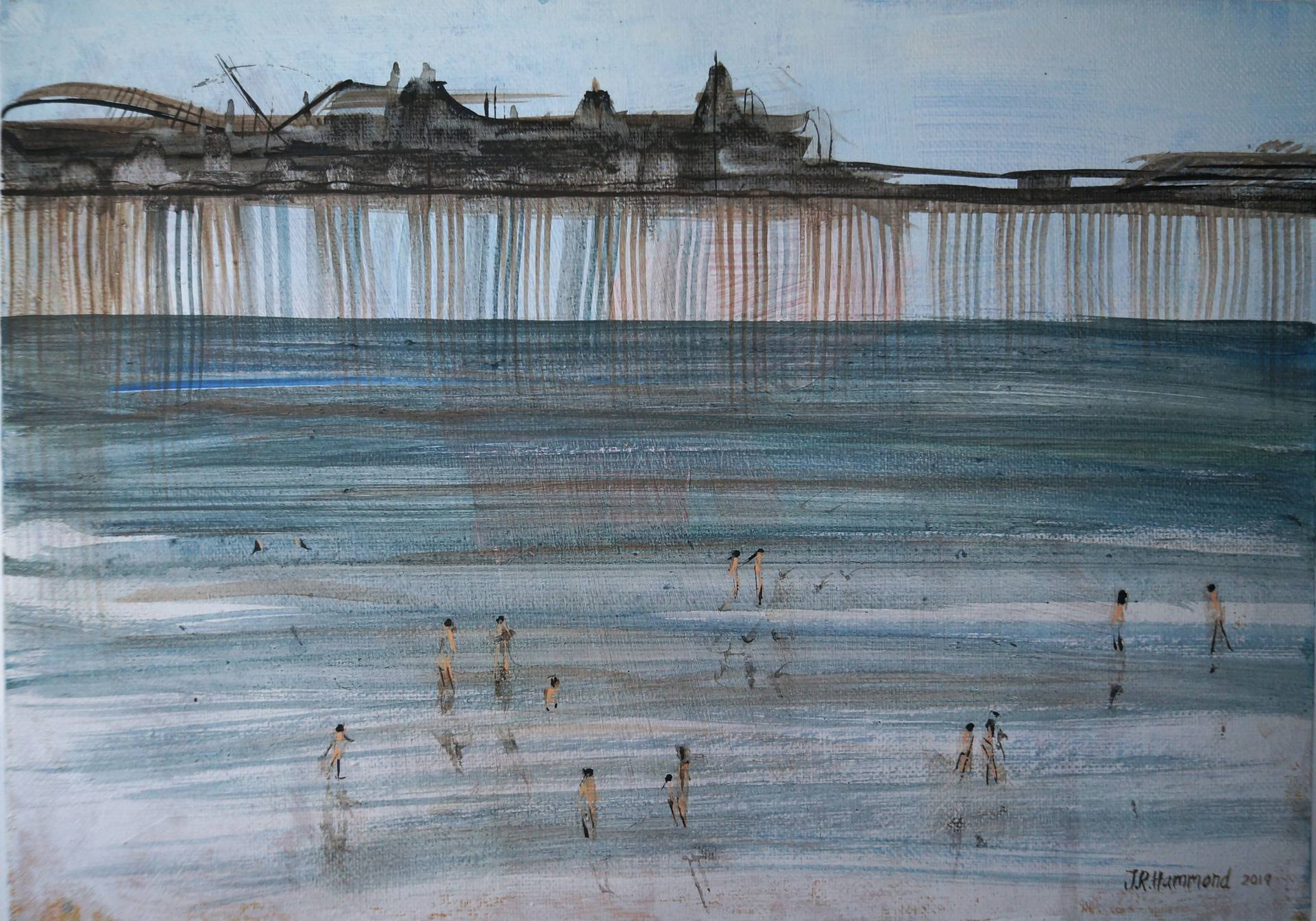 Original Painting - Paddling Near The Pier  Smart Deco Homeware Lighting and Art by Jacqueline hammond