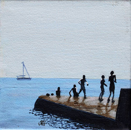 Original Groyne Painting - Baby Square 2 - Playing  (SOLD)  Smart Deco Homeware Lighting and Art by Jacqueline hammond