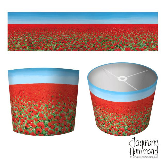 Lamp Shade - Poppy Blue Sky  Smart Deco Homeware Lighting and Art by Jacqueline hammond