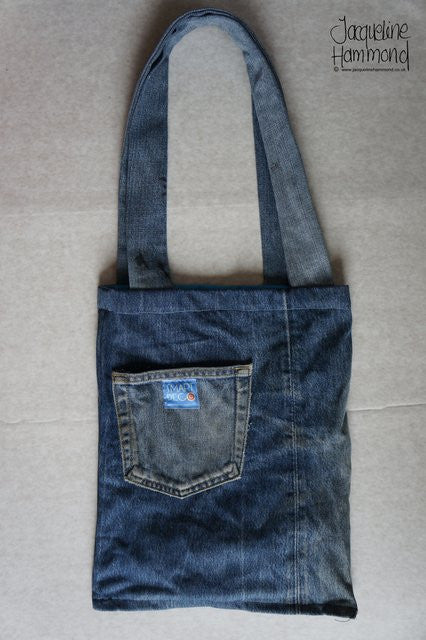 Upcycled Denim and Poppy Print Shoulder Bag  Smart Deco Homeware Lighting and Art by Jacqueline hammond