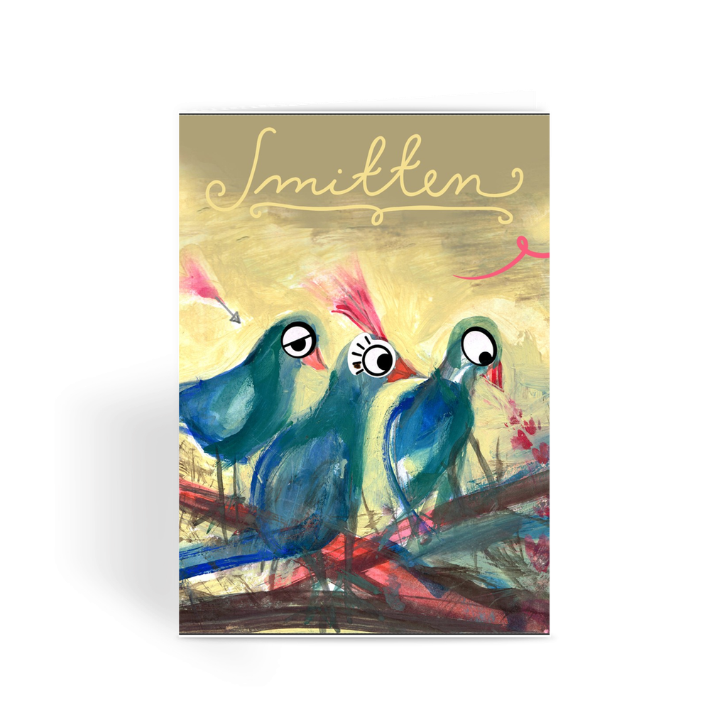 Birds Smitten on the Fence Greetings Card  Smart Deco Homeware Lighting and Art by Jacqueline hammond