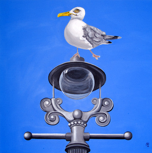 Seagull on a Lamp Post painting  Smart Deco Homeware Lighting and Art by Jacqueline hammond