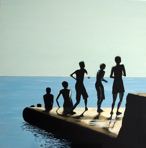 Painting - Sit and Throw - The Groyne Series 100x100cm (SOLD)  Smart Deco Homeware Lighting and Art by Jacqueline hammond