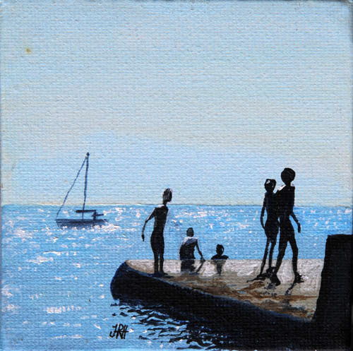 Original Groyne Painting - Baby Square 3 - Socialising (SOLD)  Smart Deco Homeware Lighting and Art by Jacqueline hammond