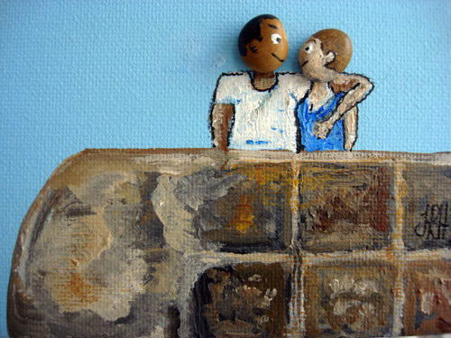 The Pebble Heads - Couple in Love (SOLD)  Smart Deco Homeware Lighting and Art by Jacqueline hammond