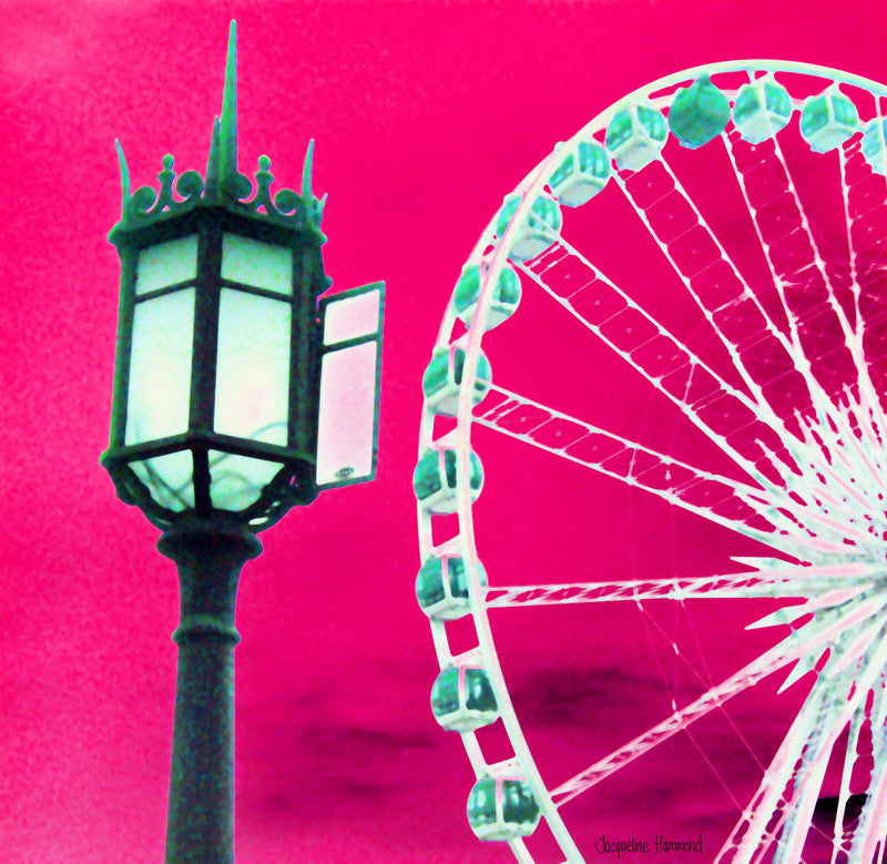 The Brighton Wheel Series - The Brighton Wheel High in a Pink Sky  Smart Deco Homeware Lighting and Art by Jacqueline hammond