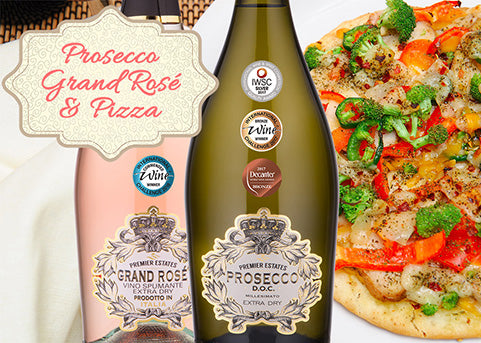 Prosecco, Grand Rose and Pizza