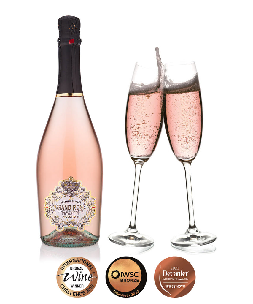 Grand ros pink prosecco case sparkling rose wine for White wine based cocktails