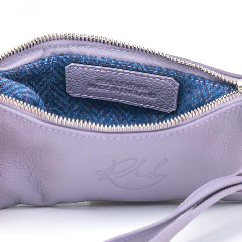lilac leather make up bag made in the cotswolds redmeg